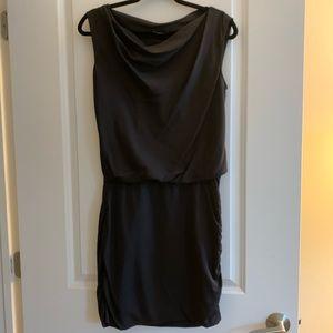 Theory Draped Silk Little Black Dress sz 2